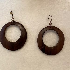 Lightweight wooden hoop earrings